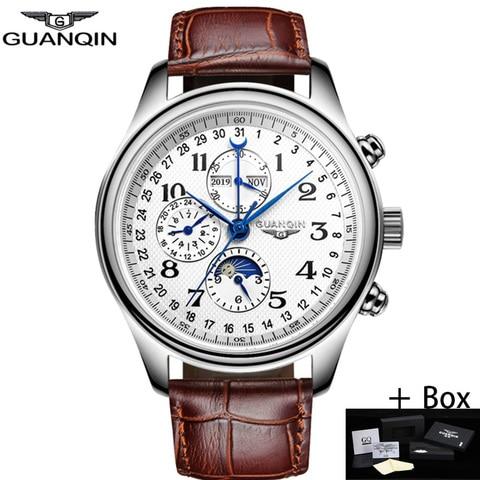 Marca de Luxo à Prova Pulseira de Couro Guanqin Relógios Mecânicos Automáticos Masculinos Topo Dwaterproof Água Calendário Negócios Relógio Masculino
