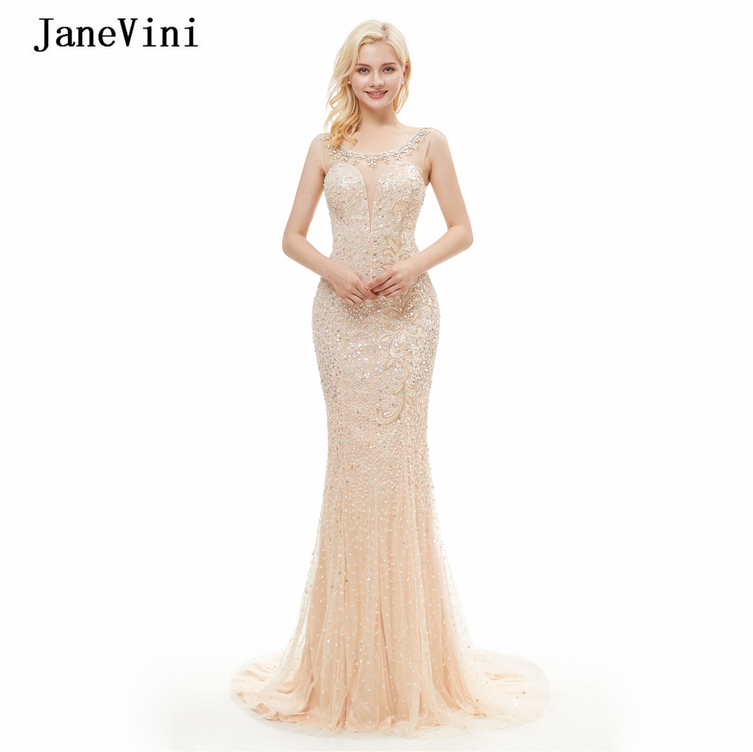 JaneVini Luxury Crystal Mermaid Dubai Long Evening Dresses 2020 Scoop Neck Full Beaded Sleeveless Tulle Arabic Sexy Evening Gown