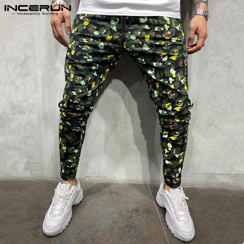 INCERUN Fashion Men Harem Pants Drawstring Leopard Print Trousers 2019 Fitness Workout Joggers Men Casual Pants Streetwear S-3XL