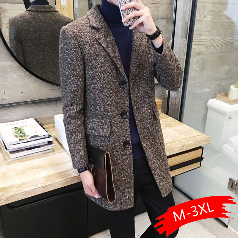 2019 Winter New Men's Fashion Boutique Wear Casual Business Wool Long Coat / Mens Overcoats Gray Men's Casual Jackets