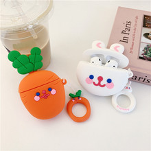 Bluetooth Earphone Case for Airpods 2 Accessories Protective Cover with Ring Strap Cute Cartoon Silicone Carrot Rabbit Design