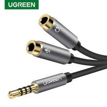 Ugreen fone de ouvido adaptador microfone y divisor cabo 3.5mm aux áudio estéreo macho para 2 fêmea separado áudio microfone plugues