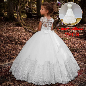 2020 White Bridesmaid Dress Kids Dresses For Girls Children Lace Princess Ball Gown Girl Party And Wedding Dress With Petticoat