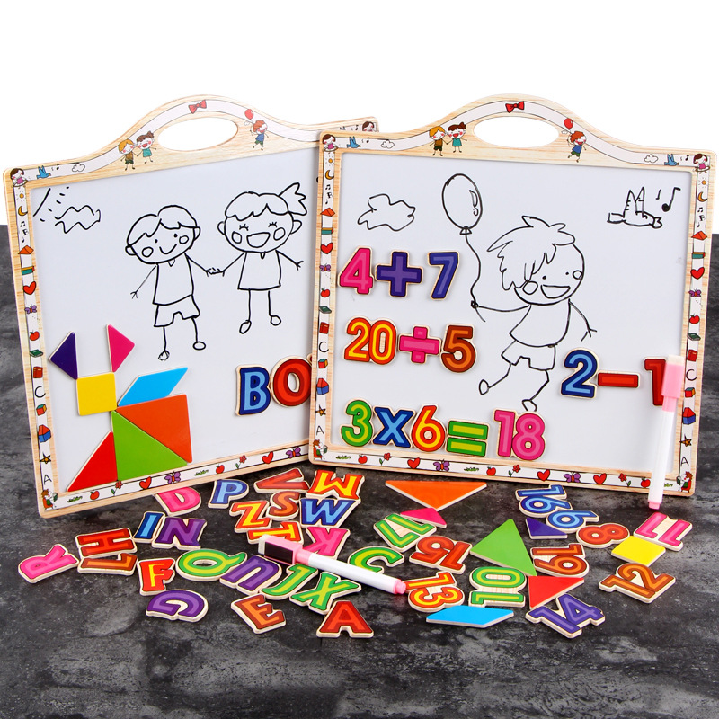 Wooden Children Double-Sided Magnetic Learning Lettered With Numbers Sketchpad 3-6-Year-Old Educational Early Learning Toy