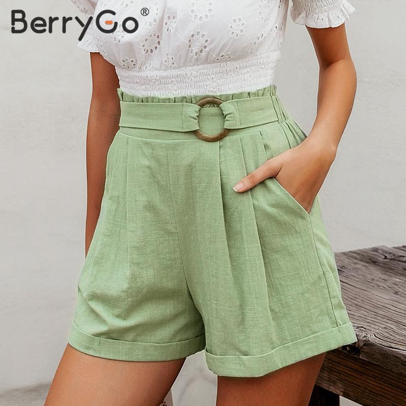 BerryGo Casual Belt High Waist Shorts Women Green Holiday Beach Style Holiday Summer Shorts Pocket Ring Blet Sash Ruffles Short