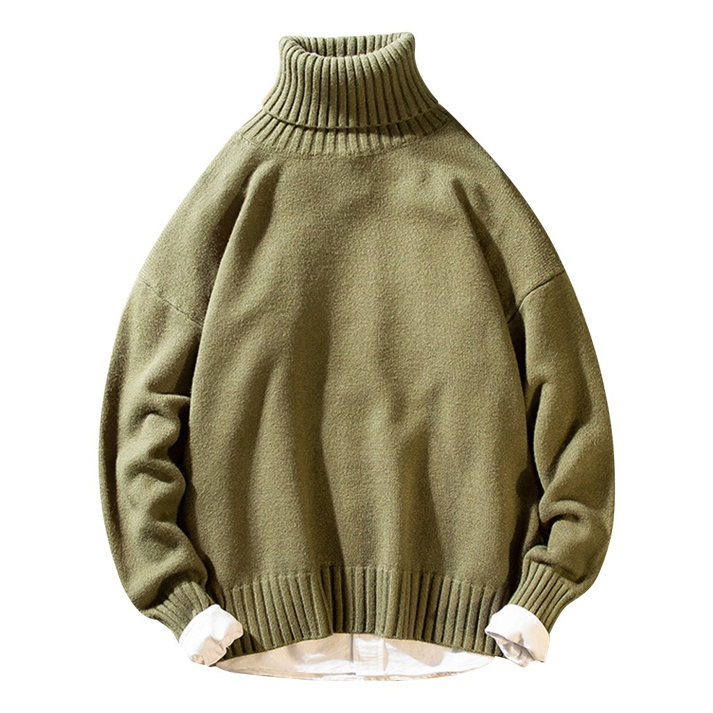 Womail Big Size Turtleneck Sweater Men Keep Warm Mens Pullover Sweaters Loose Casual Knitting Long Sleeve Sweater Pullover
