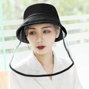 Transparent Mask Face Shield Anti-Saliva Splash Anti-Spitting Anti-Fog Protective Fisherman Hat Bucket hat Mask Removable