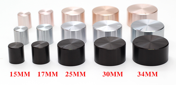 Aluminum Plastic Potentiometer Knob 15*16 21*17 26*17 30*17 34*17 40*19mm Silver Black Gold Chassis Volume Cap Amplifier Knobs