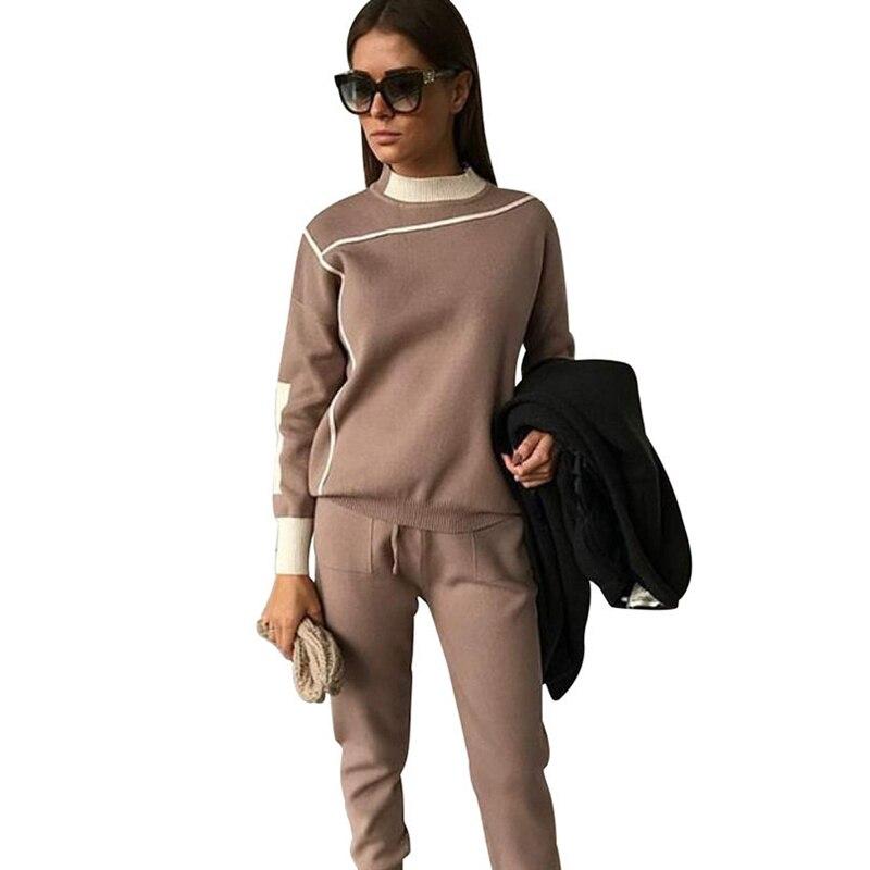 Woman Two Piece Set 2019 Autumn Tracksuits Fashion Knitted Suits Turtleneck Sweater + Slim Pants Ladies Stripe Twinset 2 Pcs Set