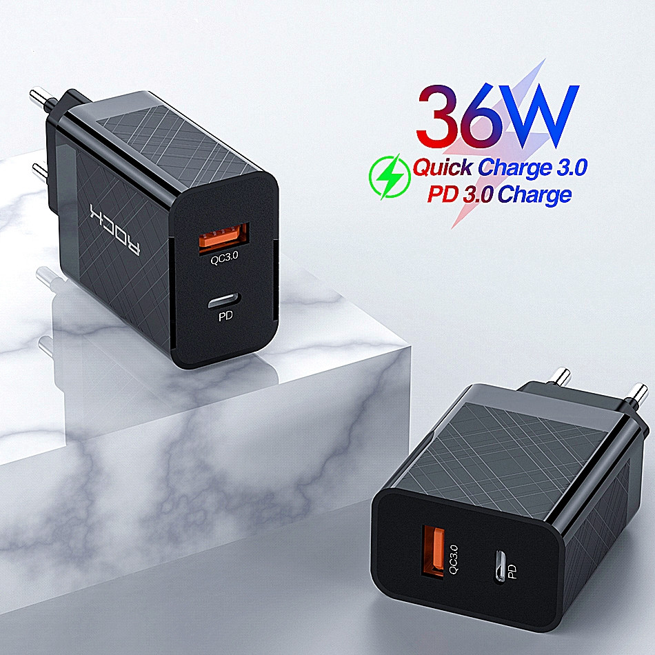ROCK PD QC 3.0 FCP Dual USB Charger 36W Quick Charge EU US Plug For IPhone X 8 Plus For Redmi Note 7 Mobile Phone Adapter