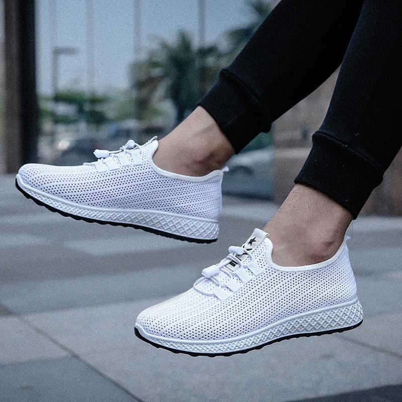 SHUJIN 2019 mężczyźni trampki przypadkowi mężczyźni buty wulkanizowane oddychające siatki buty męskie męskie wiązane płaskie buty buty Zapatos moda buty