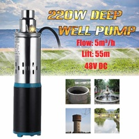Water Pump 48V 220W 55m Deep Well Solar Water Pump DC Screw Submersible Pump for Irrigation Garden Home Agricultural