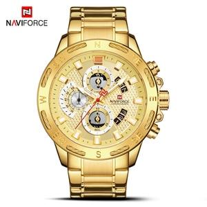 Image 2 - NAVIFORCE montres pour hommes, à Quartz, étanche, en acier inoxydable, chronographe, horloge militaire