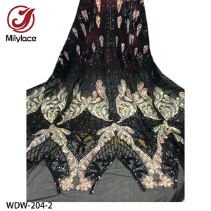 Image 2 - Yeni parlak Bling Sequins dantel 5 metre yüksek kaliteli afrika dantel kumaş örgü dantel düğün parti WDW 204