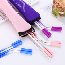 Reusable Stainless Steel Straws Straight Bent Drinking with Silicone Tips for Hot Cold Beverage straw