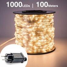 100 м 1000 светодиодный серебристый провод сказочные гирлянды водонепроницаемый штекер Адаптер для елки наружное рождественское праздничное свадебное украшение