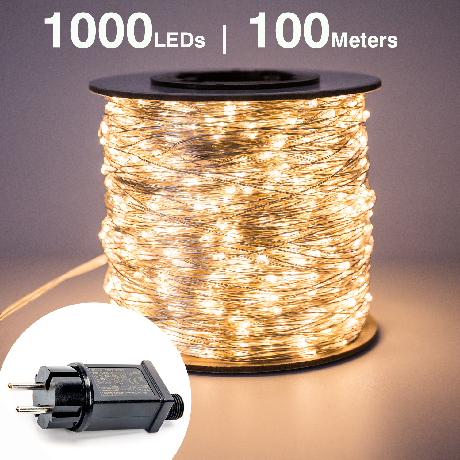100M 1000 LED Silver Wire Fairy String Lights Wateproof Plug In Adapter For Tree Outdoor Christmas Holiday Wedding Decoration