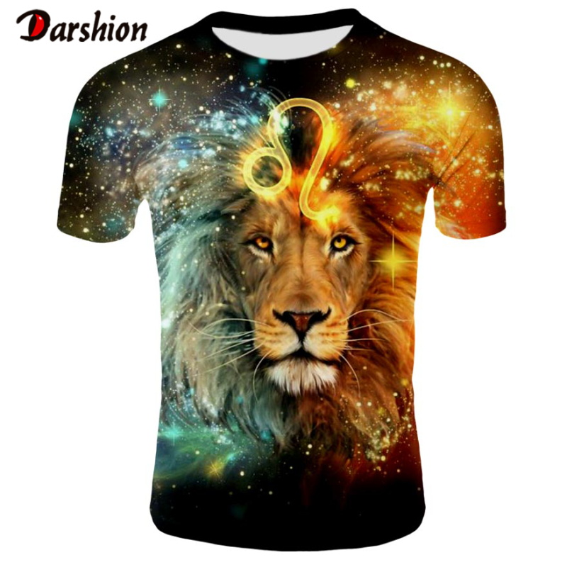 Fashion Men T-shirt 3D Funny Lion Print Designed Stylish Summer T-shirt Brand Tops Tees Casual O-Neck Short Sleeve Plus 4XL Size