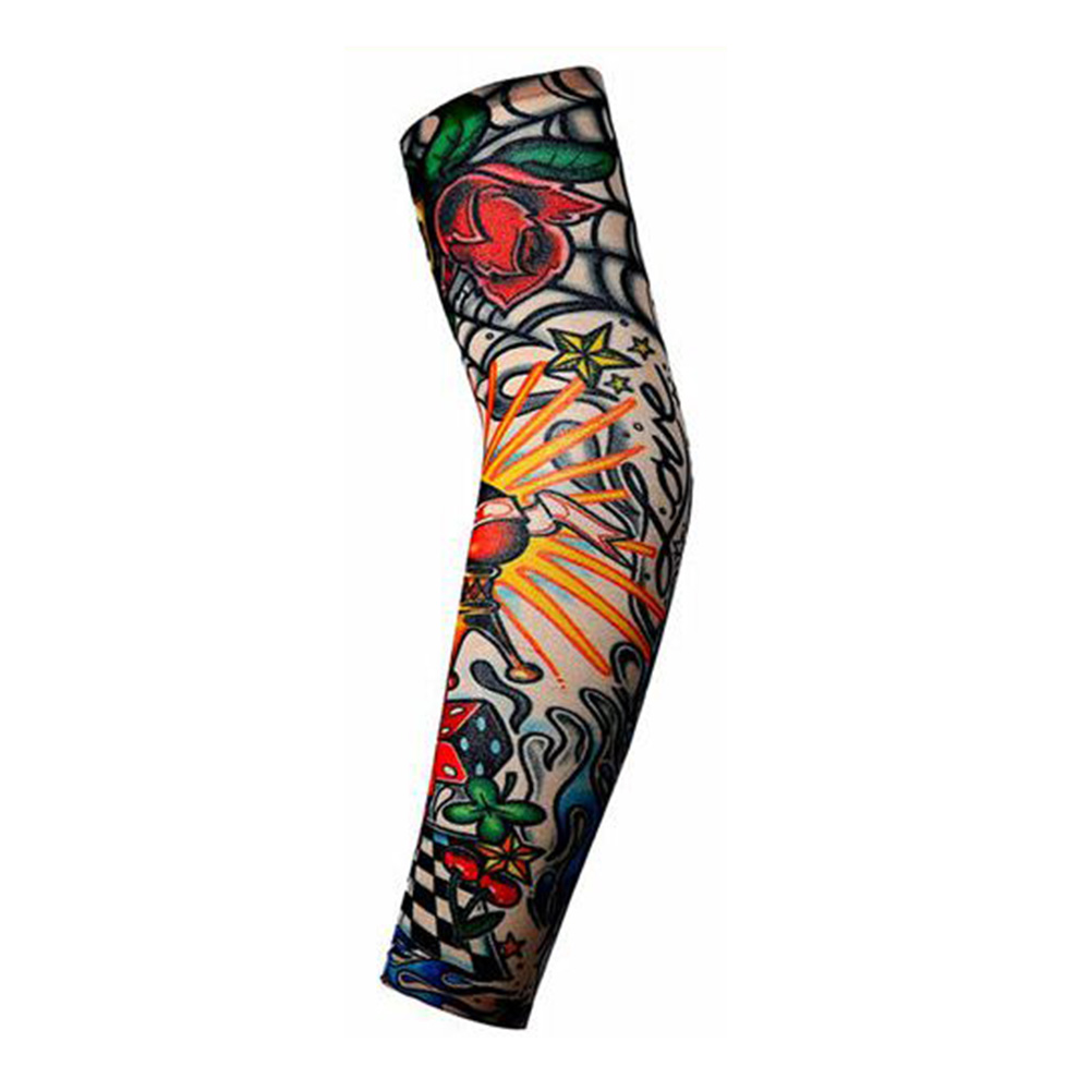 Arm Protective Sleeves Men Tattoo Arm Leg Sleeves Sun Protection Cycling Halloween Party Decoration