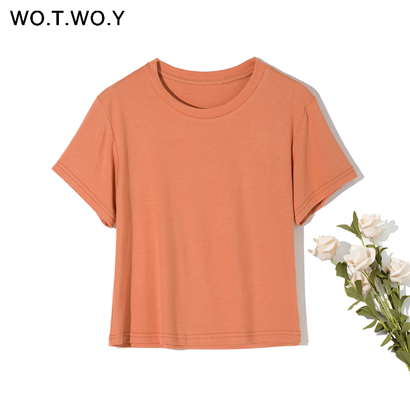 WOTWOY Summer O-neck Basic T-shirts Women Casual Slim Cotton Knitted Tops Ladies White Short Sleeve Tee Shirt Woman Korean 2020
