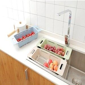 Image 5 - Kitchen Adjustable Sink Dish Drying Rack Organizer Sink Drain Basket Vegetable Fruit Holder Storage Rack 48*18.5*8cm