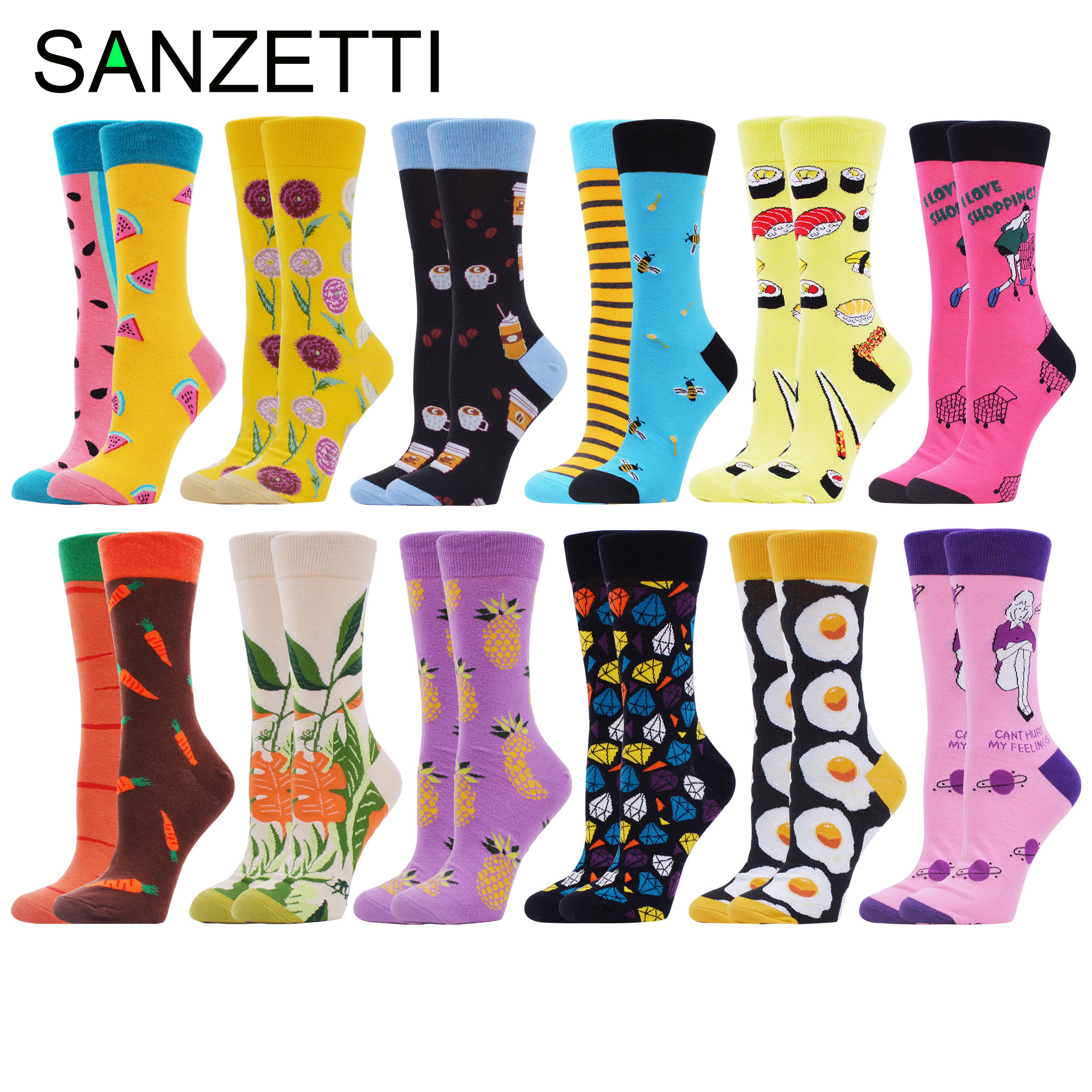 SANZETTI 12 Pairs Women Combed Cotton Socks Multi Colorful Happy Lovely Food Novelty Wedding Bright Gifts Dress Popular Socks