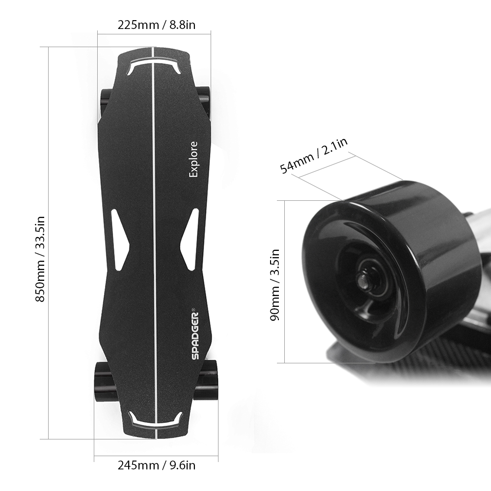 EU Free Shipping 300W Four-wheel Longboard Electric Skate Board Dual Motor Electric Skateboard 23MPH Top Speed Light Sports