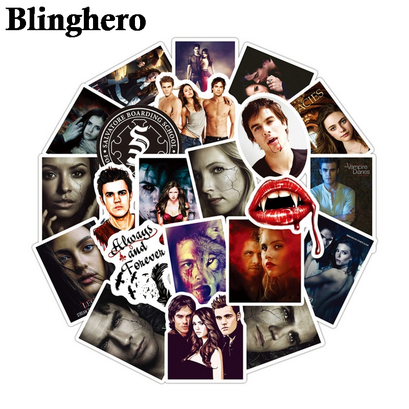 50pcs/set The Vampire Diaries Stickers Tv Shows For Luggage Laptop Stickers Skateboard Moto Car Guitar Fridge Stickers CA1016