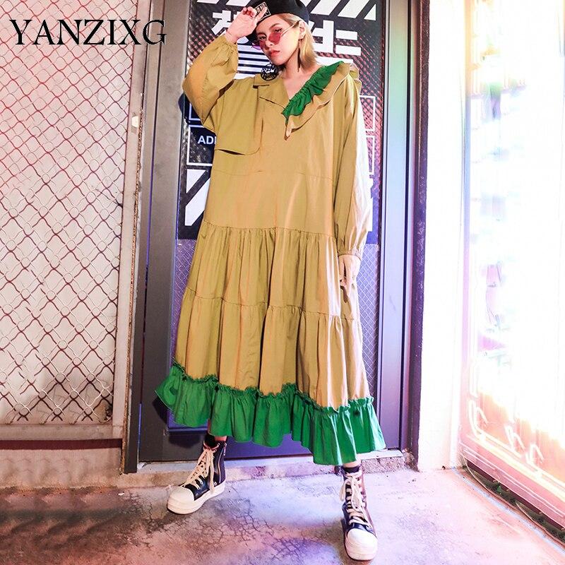 Femmes kaki volants Split Joint grande taille tempérament robe nouveau col en v à manches longues lâche Fit mode automne 2019 S717