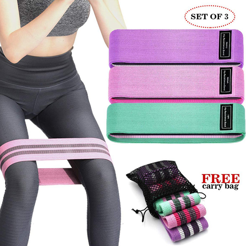Yoga Fitness Resistance Bands Legs and Butt Fabric Workout Loop for Women Non Slip Elastic Booty Set of 3 Hot Sall