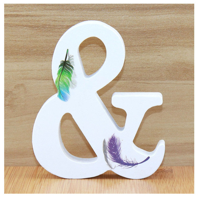 1pc 10cm Wooden Letters Alphabet Name Letter Standing Feather DIY Handmade Design Height Art Crafts Home Decor 3.94 Inches 5