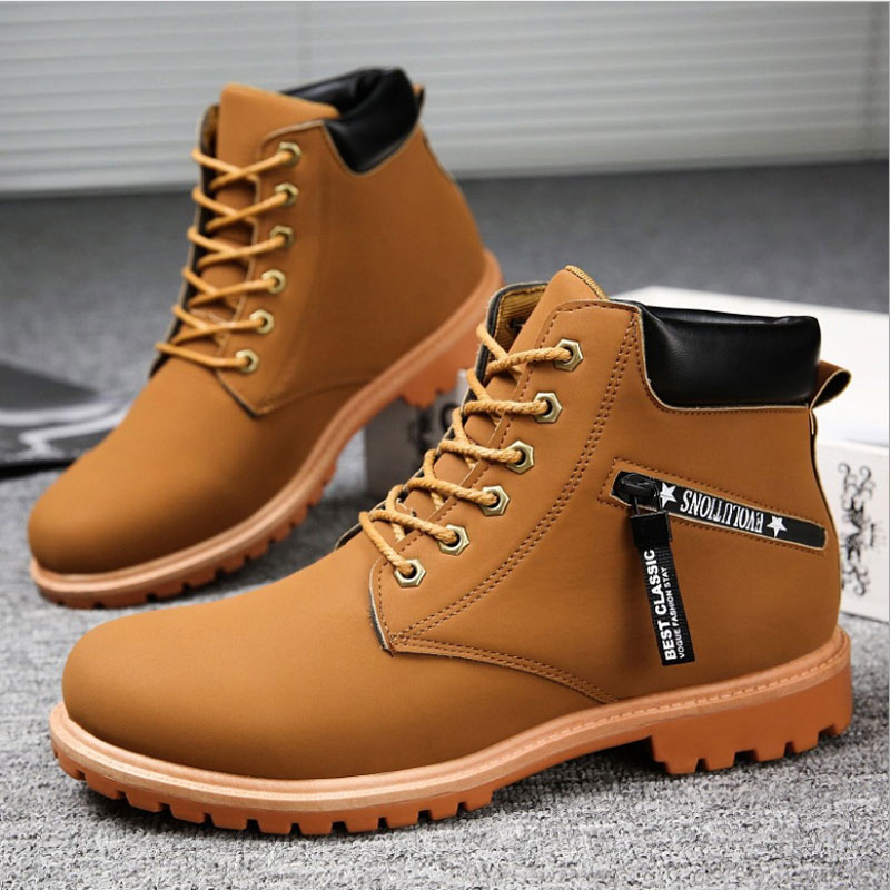 Winter Men's Martin Ankle Boots Black Work Footwear Timber Land Boots Male Boots Indestructible Combat Shoes British Trend