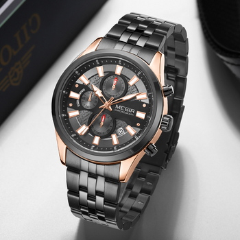 цены Watch Men Top Luxury Brand MEGIR Rose Gold Sport Waterproof Quartz Watches Mens Chronograph Date Male Clock Relogios Masculino