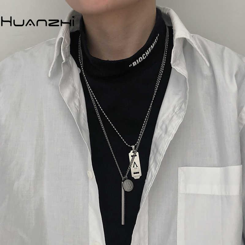 HUANZHI 2020 Neue Minimalistischen Punk Titan Stahl Hip Hop Brief Rechteck Runde Anhänger Metall Halskette für Frauen Männer Paar