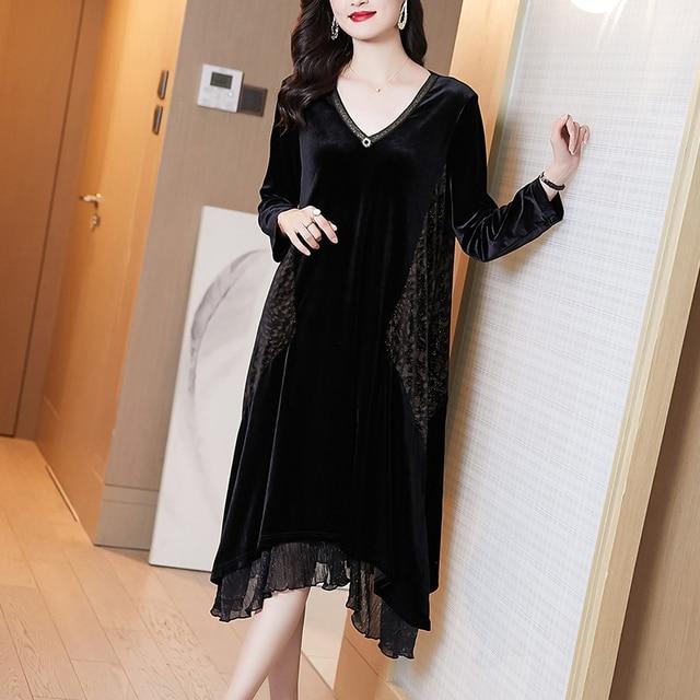 Elegant Women Vintage Casual Black Maxi Dresses 2021 Autumn Winter 5XL Plus Size Long Sleeve Midi Dress Bodycon Party Vestidos 3