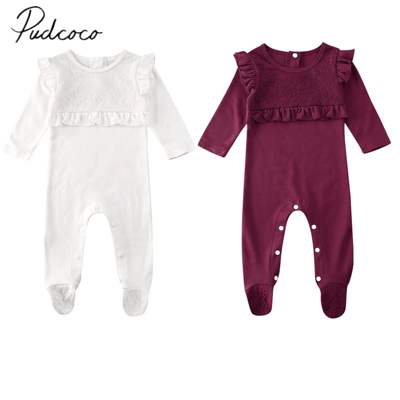 Infant Newborn Baby Girl Boy Winter Solid Ruffles Romper Casual Clothes Jumpsuit