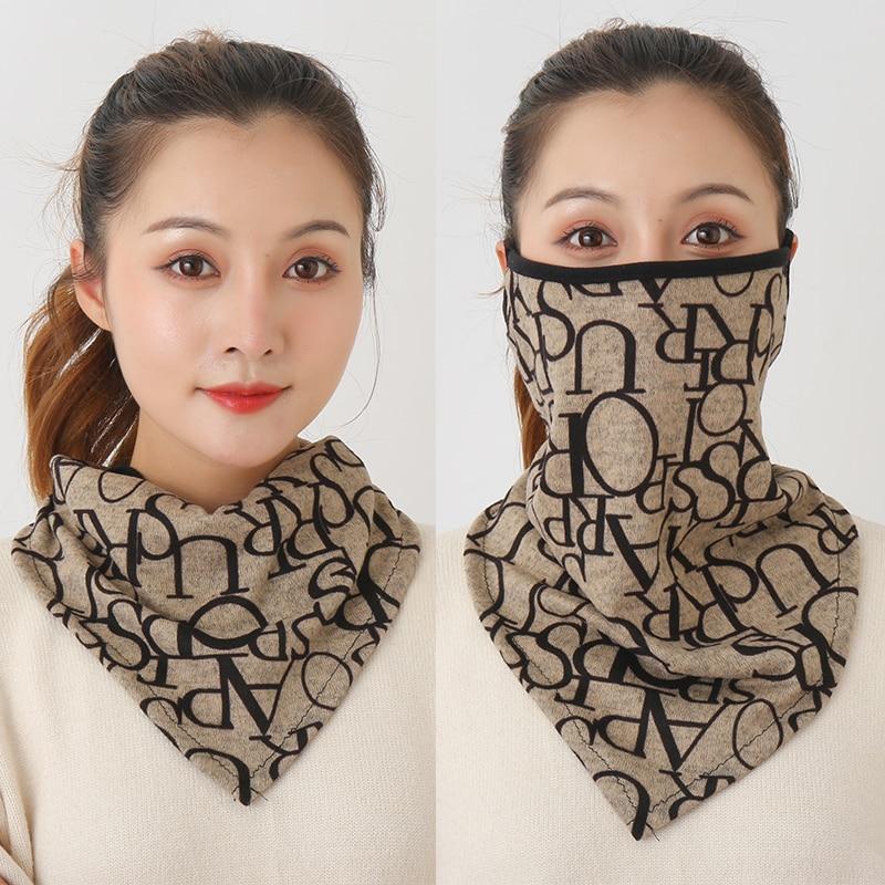 Mask Scarf Wraps Foulard-Bandana Face-Mascarillas Floral-Print Warm Neck Outdoor Reusable