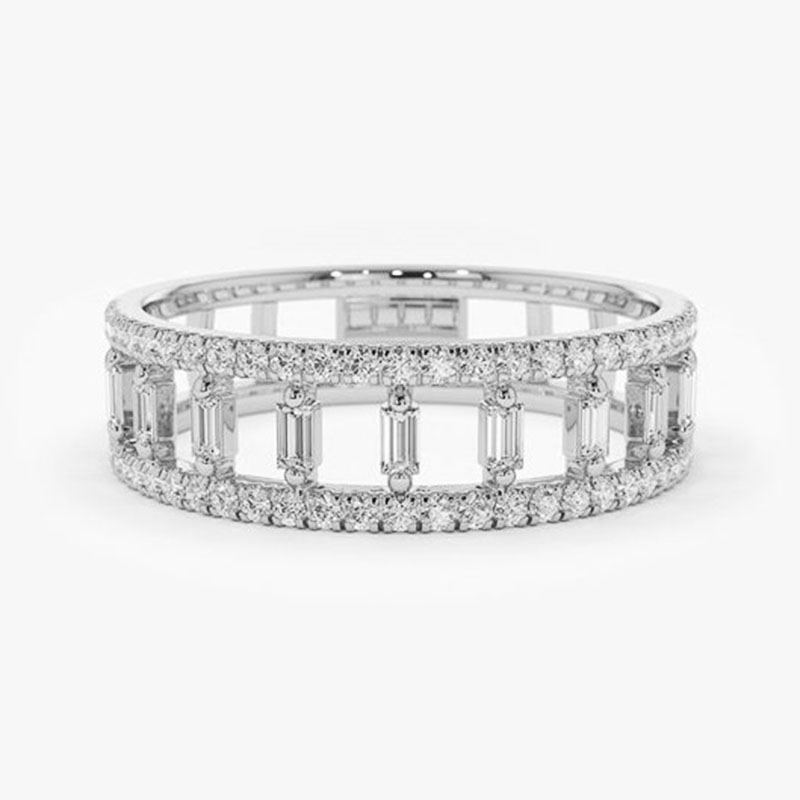 Huitan Simple Classic Band Women Ring 3 Metal Colors Dazzling Crystal Zircon Lady Engagement Rings Delicate Daily Wear Jewelry