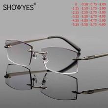 Gafas de protección contra luz azul para hombre, lentes para miopía con prescripción de ordenador, sin montura, cristal sin marco, corte de diamante