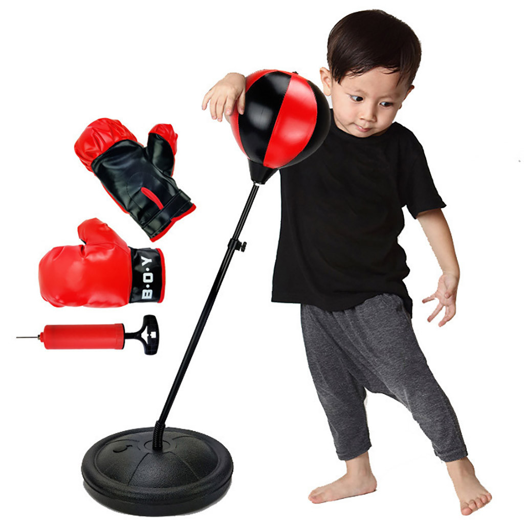 Adjustable Fitness Children Boxing Set With Gloves Kids Sport Relaxed Boxing Punching Bag Speed Training Bag Outdoor Gaming Toys