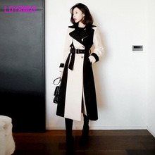 2019 autumn and winter new Korean fashion stitching temperament long Hepburn woolen coat female