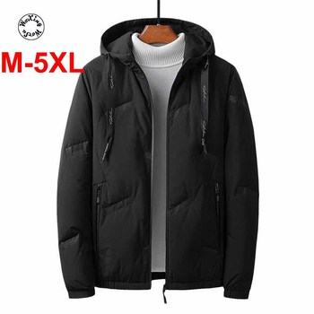 Men's white duck down caot young handsome leisure joker down jacket warm hooded jacket M to 5XL
