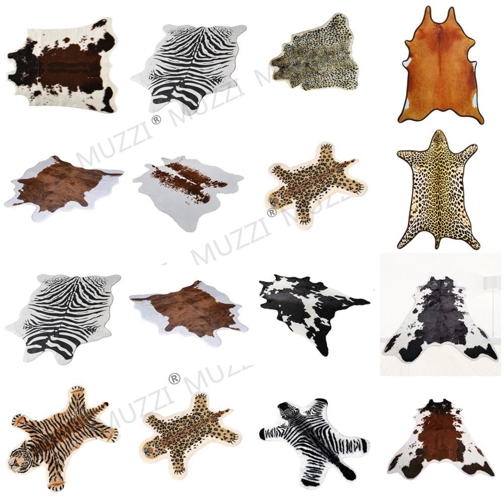 2020 Fashion Zebra/Cow  Printed Carpet Velvet Imitation Leather Rugs Cowhide Animal Skins Natural Shape Carpets Decoration Mats