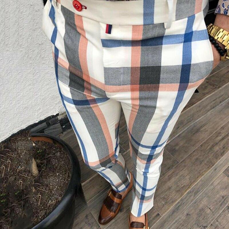 2019 New Men Slim Fit Plaid Pockets Tracksuit Sport Gym Skinny Jogging Joggers Sweat Pencil Pants Streetwear Long Trousers