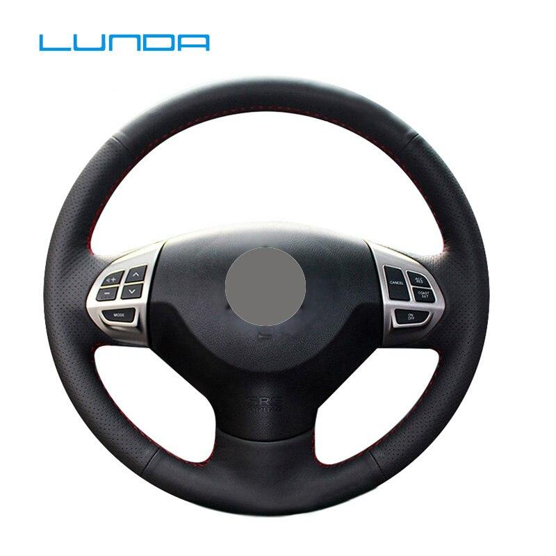 غطاء عجلة قيادة سيارة من الجلد الأسود ماركة لوندا لميتسوبيشي لانسر EX 10 لانسر X أوتلاندر ASX كولت باجيرو سبورت