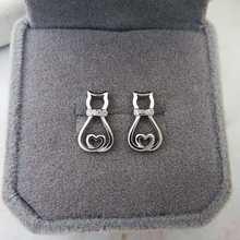 Hot Sale 925 Sterling Silver Hollow Heart Cat Earrings Animal Stud Earrings Fine 925 Pure Silver Jewelry Brincos For Women цена 2017
