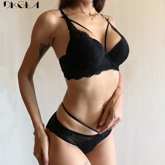 New Green Underwear Set Women Bra Push Up Brassiere Cotton Thick Black Gather Sexy Bra Panties Sets Embroidery Lace Lingerie Set 3