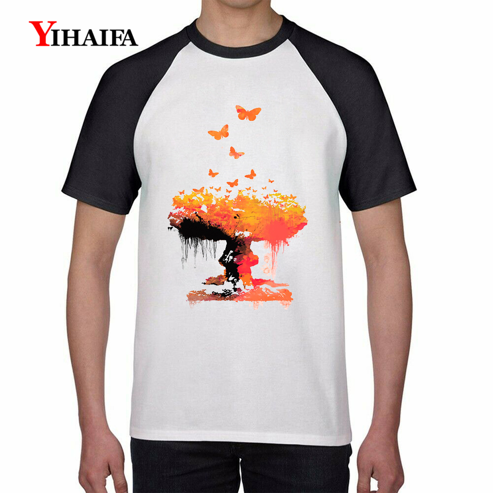Mens T Shirts 3D Colorful Tree Butterfly Graphic Tees Plus Size Tee Short Sleeve White Tops Fashion Casual T-shirt S-3XL