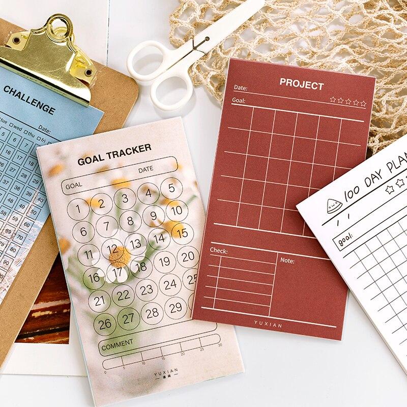 8 Sheets /Pack 30 100 Days Goal Tracker Challenge Project Planner Paper Sticker DIY Decor Stick Label Stationery