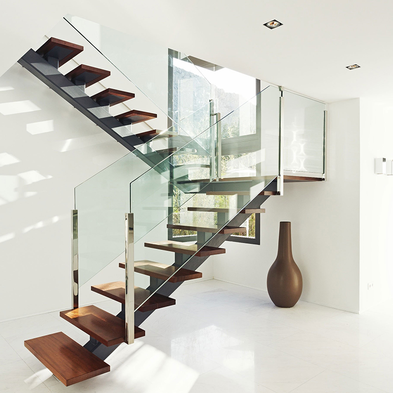 New House Middle Stringer Steel U Shaped Wood Glass Railing Design   Staircase Railing Designs In Wood And Glass   Frosted Glass   Low Cost   Stair Handrail   Wooden   Solid Wood